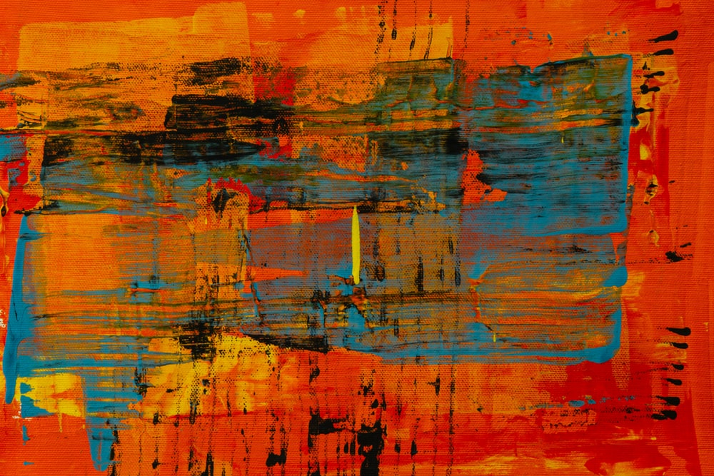 orange blue and yellow abstract painting