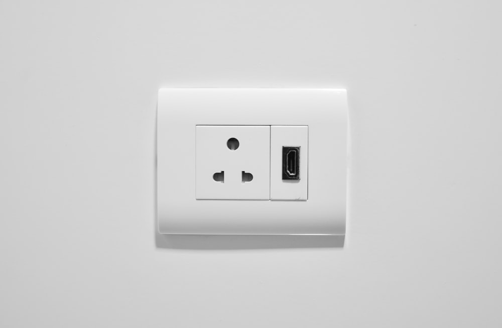 white wall mounted electric switch