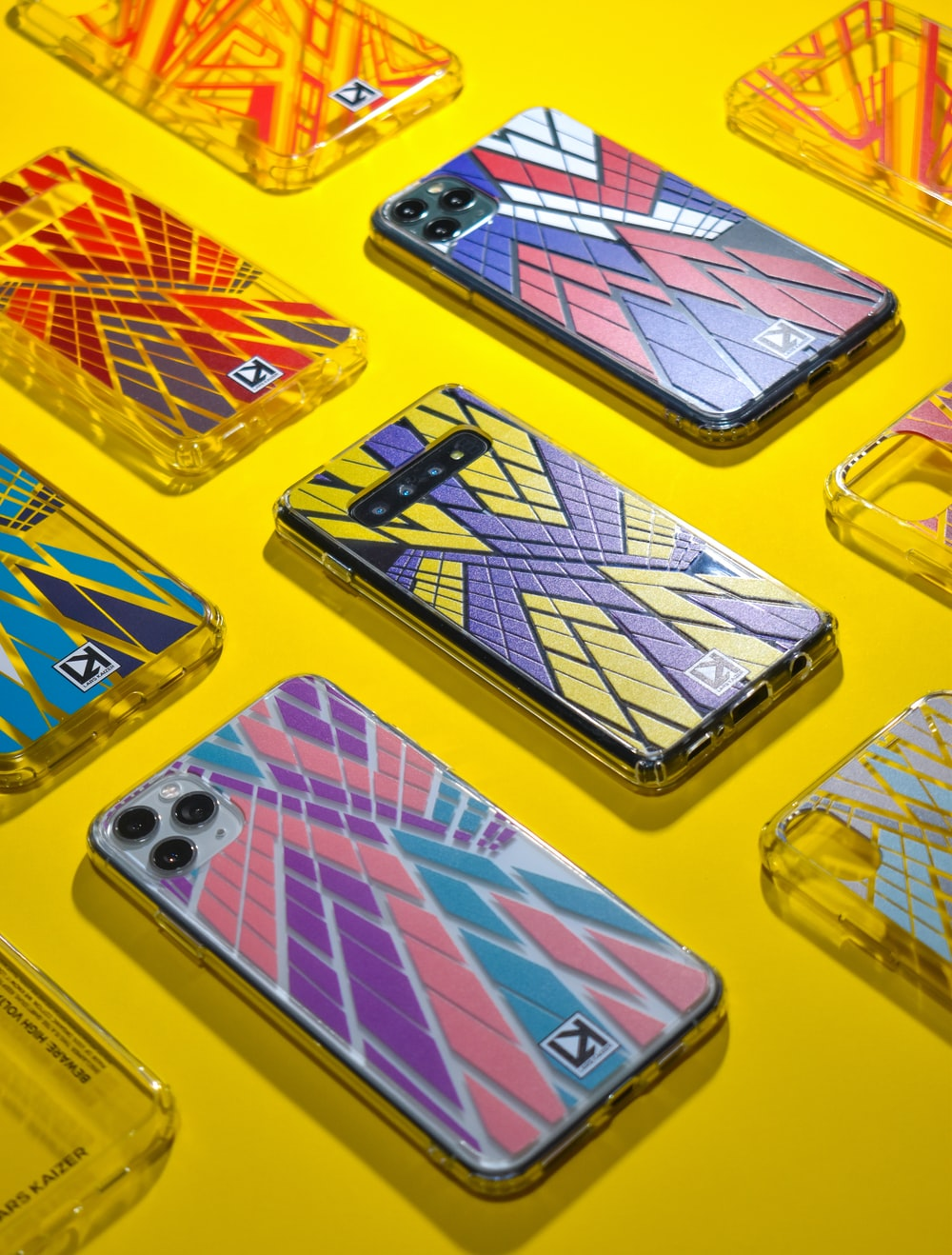 yellow red and blue iphone case