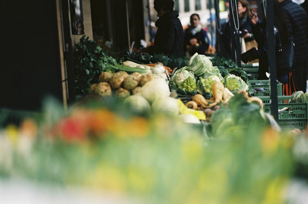 green vegetable on display in tilt shift lens