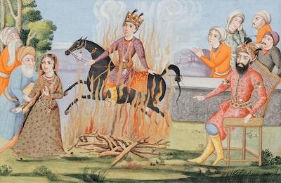 woman in orange dress standing beside woman in brown dress painting art deco teams background
