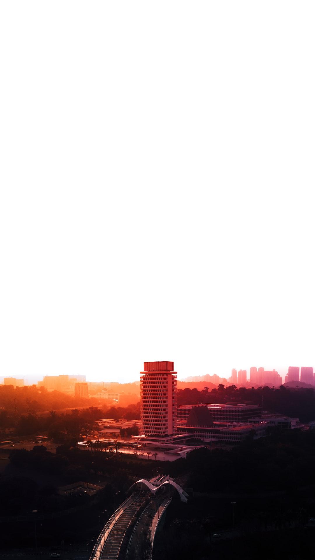 Aerial sunset of Malaysia Parliament, Kuala Lumpur