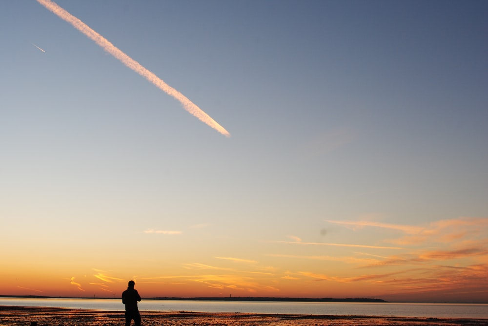 silhouette of man standing on seashore during sunset