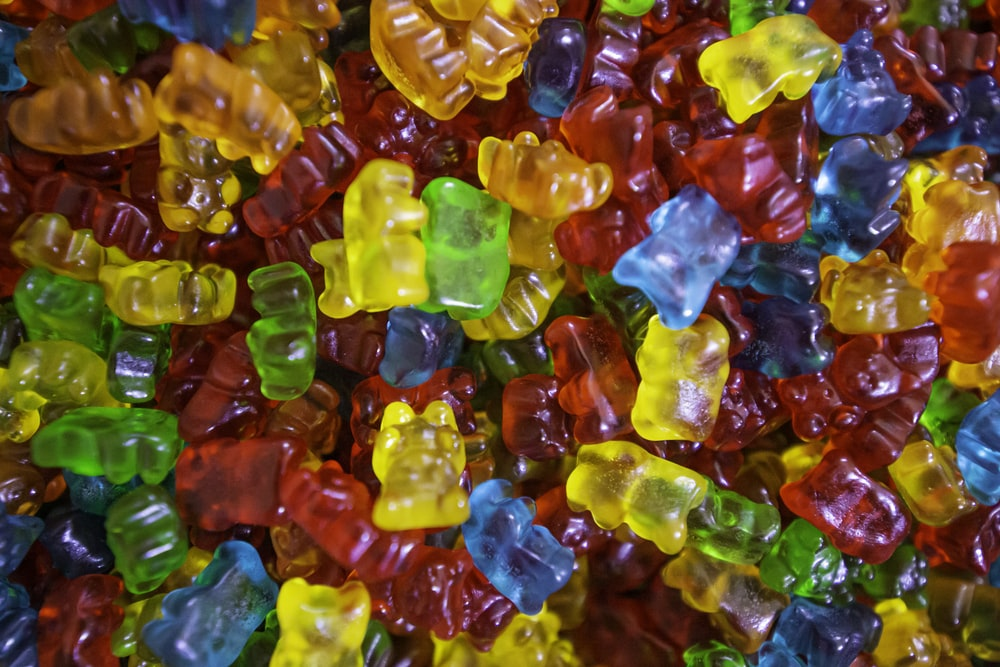 yellow green and red plastic beads