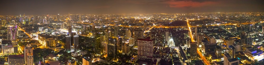 aerial view of city during night time