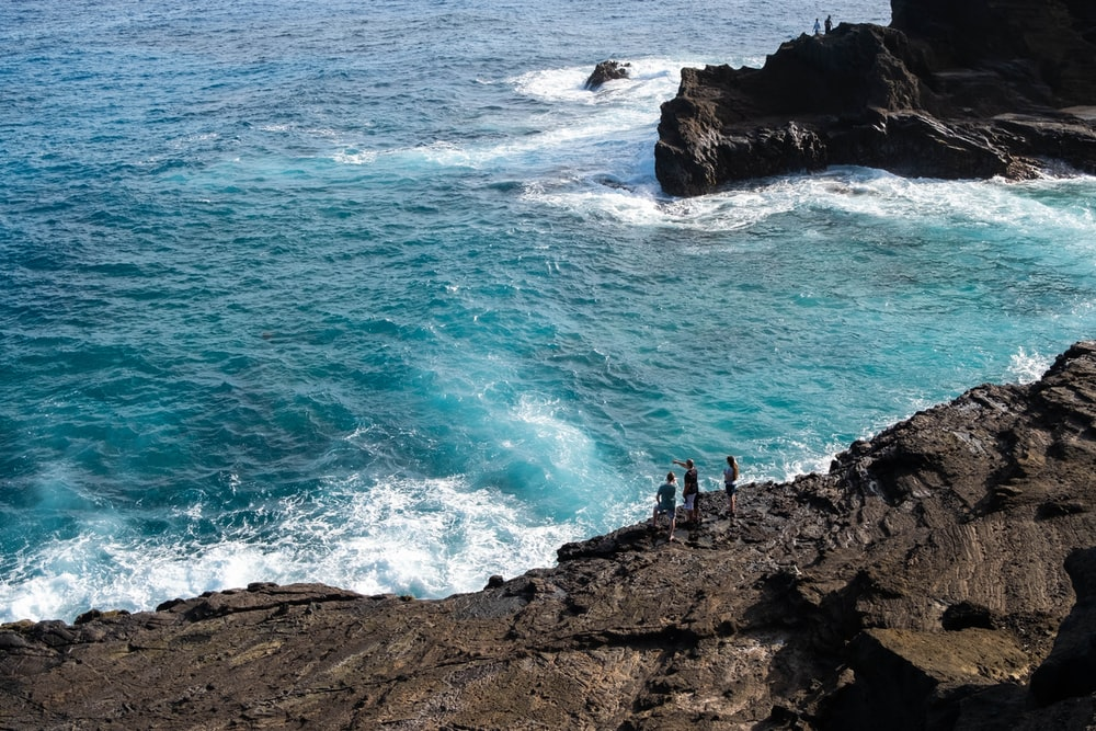 people standing on rocky shore during daytime
