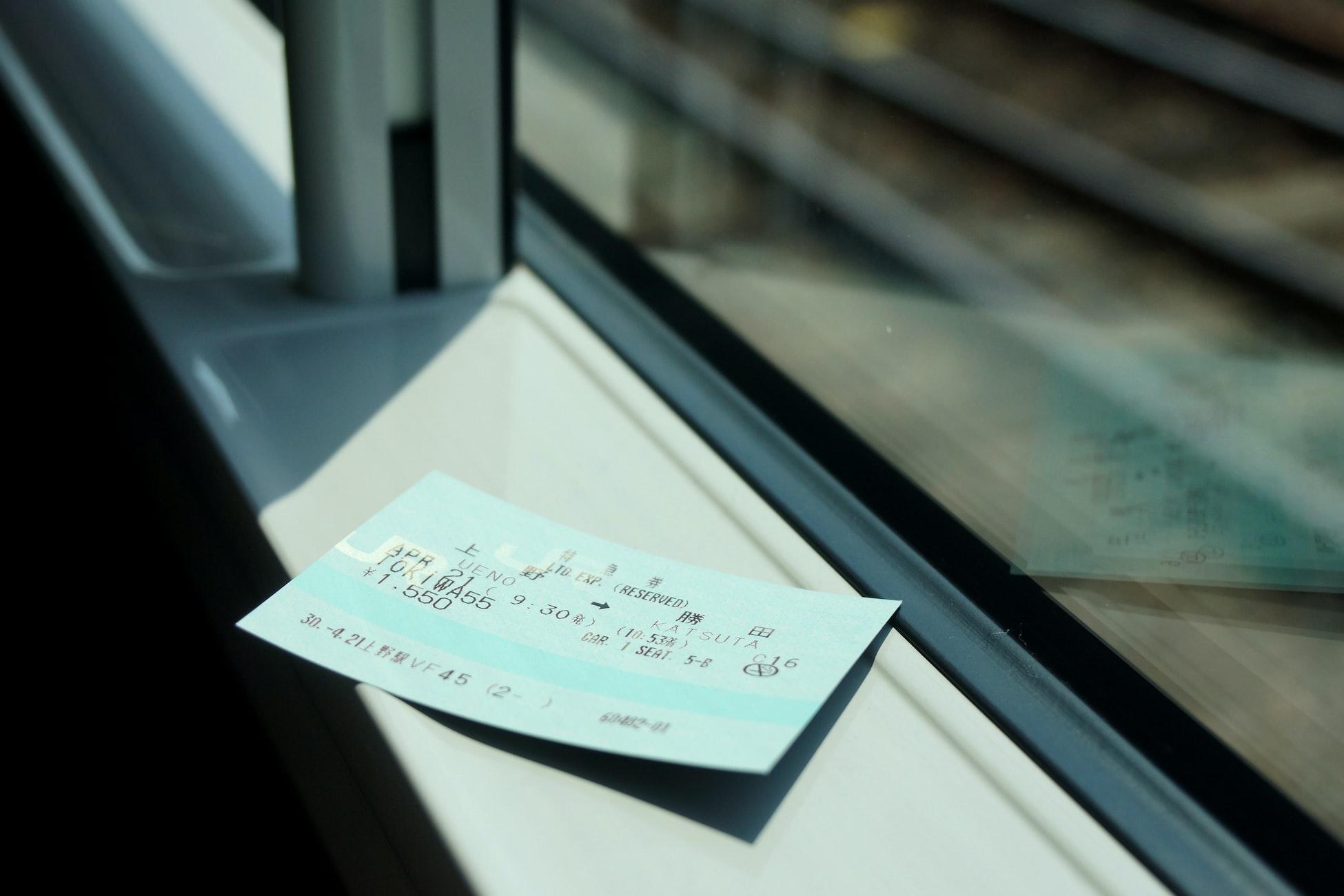 Un titre de transport dans un train