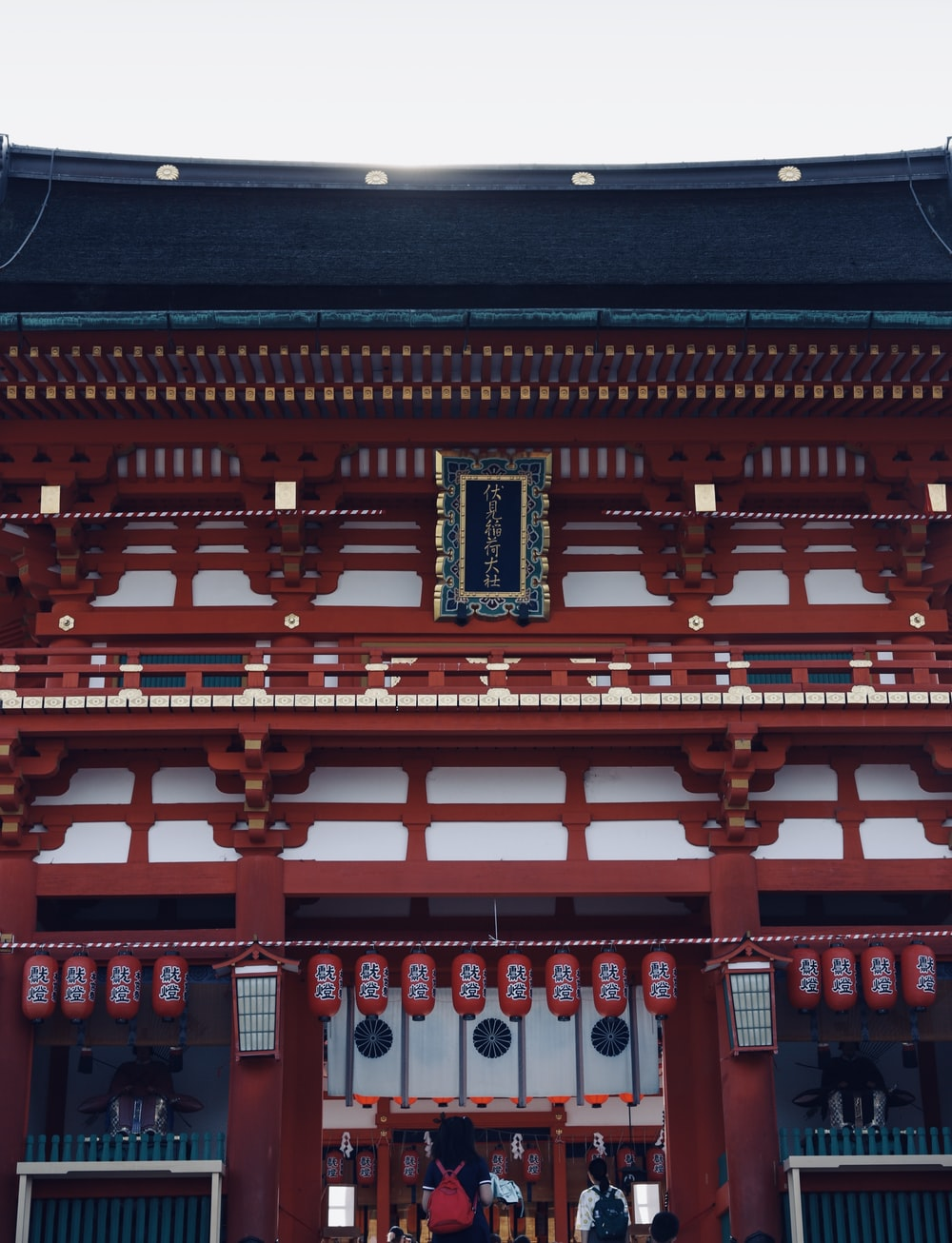 red and black temple with red and white ceiling