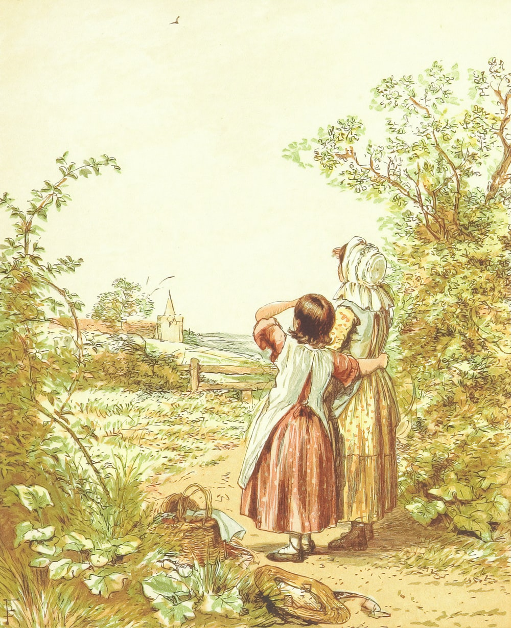 girl in white dress standing on brown soil surrounded by green plants
