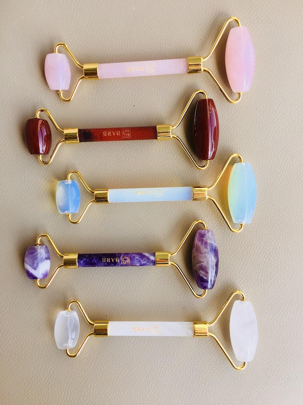 seven white and purple spoon