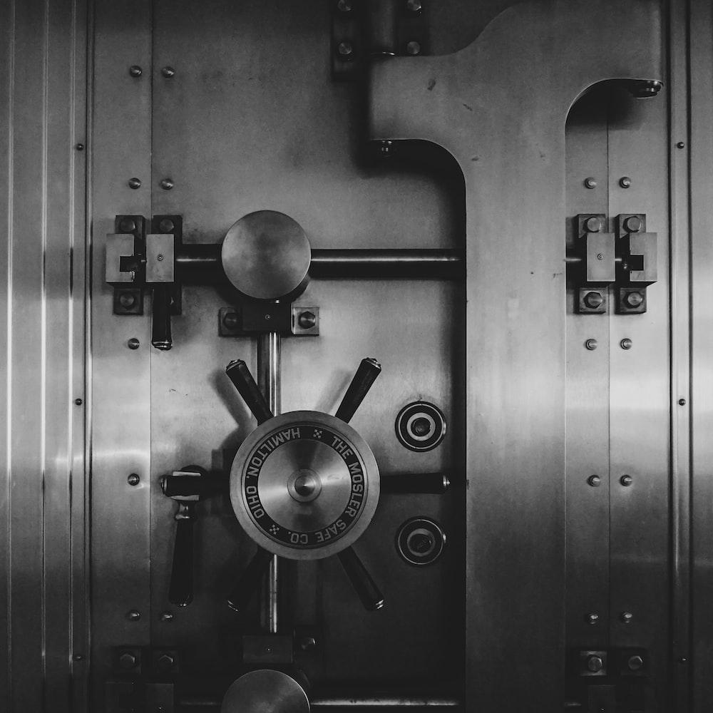 black and silver door knob