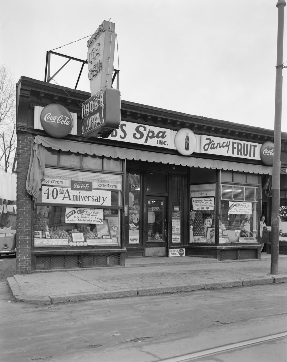 grayscale photo of UNKs store