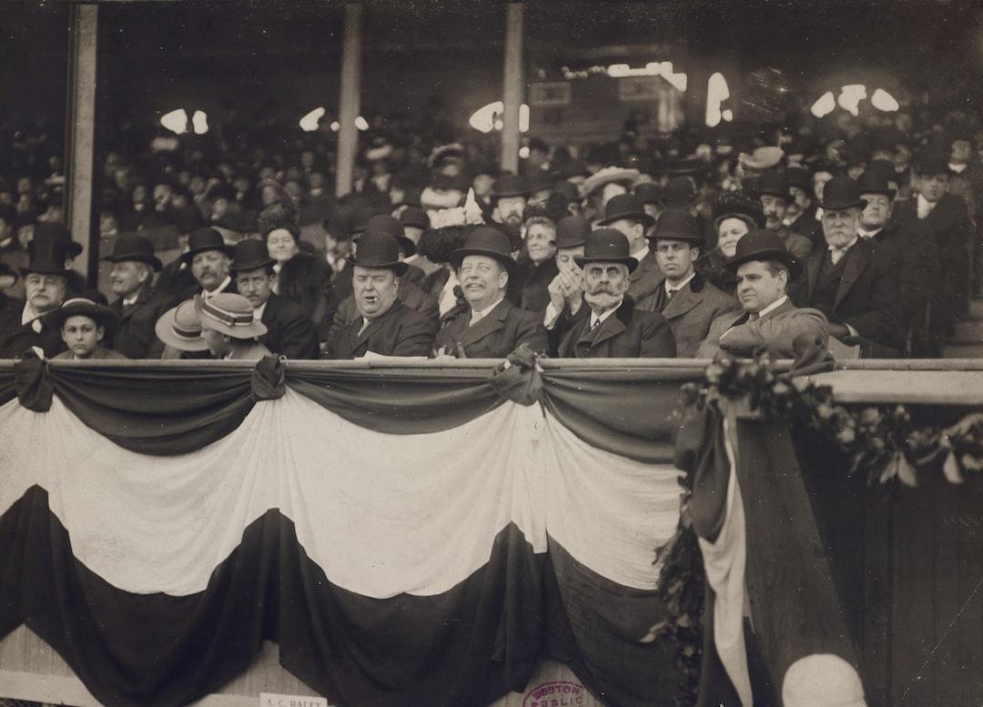 Ban Johnson, Curtis Guild and Charles Taylor at the Huntington Avenue Grounds, 1910  https://ark.digitalcommonwealth.org/ark:/50959/sf268642v  Please visit Digital Commonwealth to view more images: https://www.digitalcommonwealth.org.