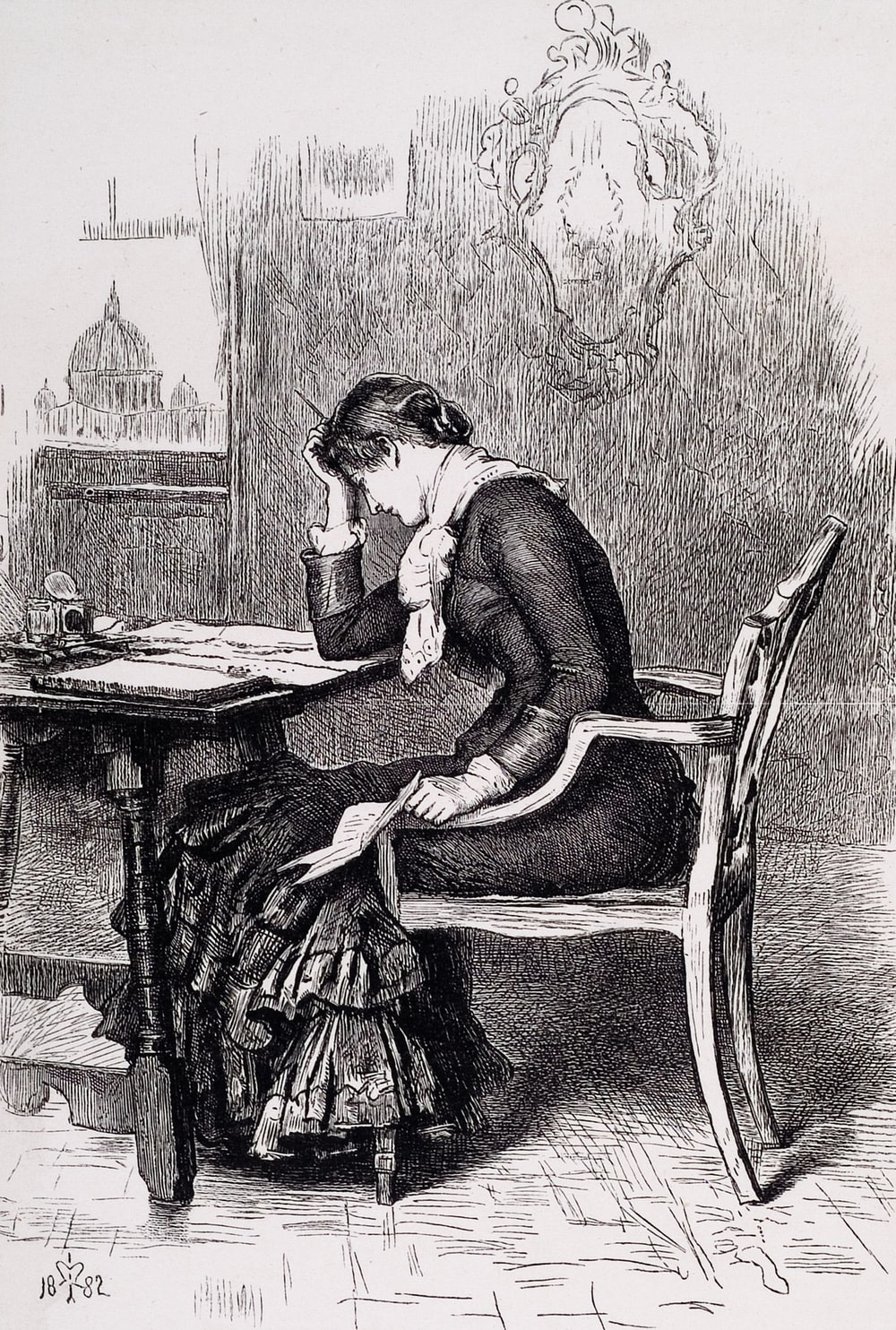 woman sitting on chair reading book sketch