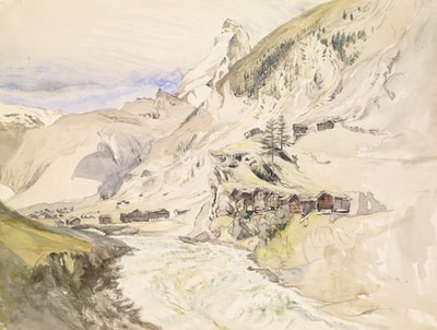 white and brown house near green trees and mountain painting impressionism teams background