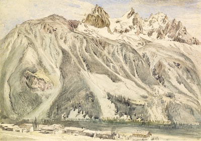 white and brown mountain under white sky during daytime impressionism teams background
