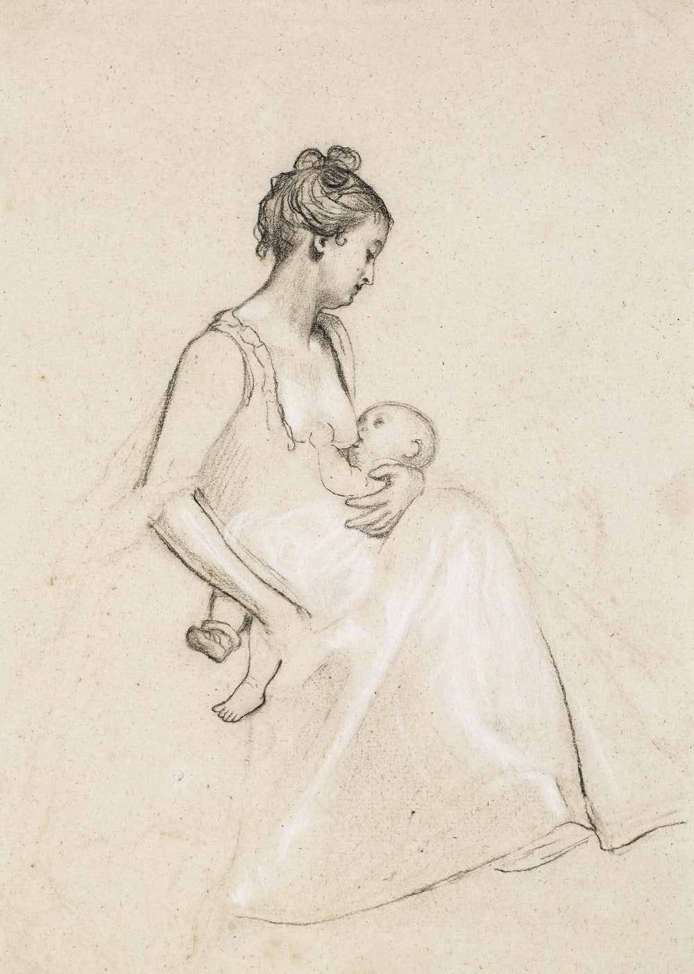 woman in white dress sketch