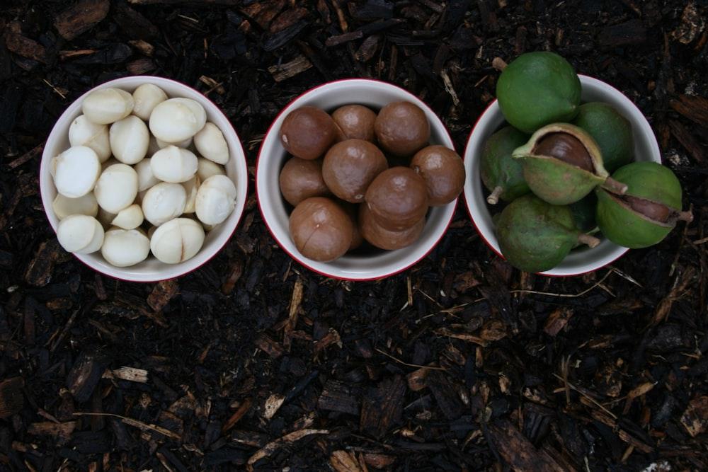 white round ceramic bowls with white round fruits