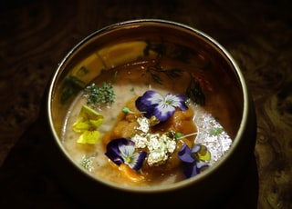 soup with vegetable in stainless steel bowl