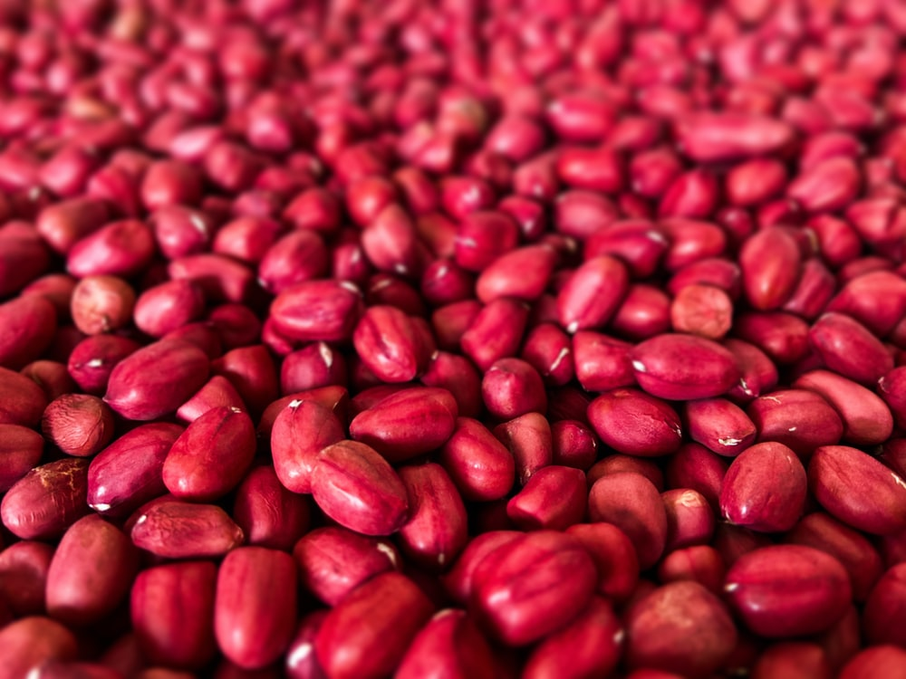 red and black coffee beans