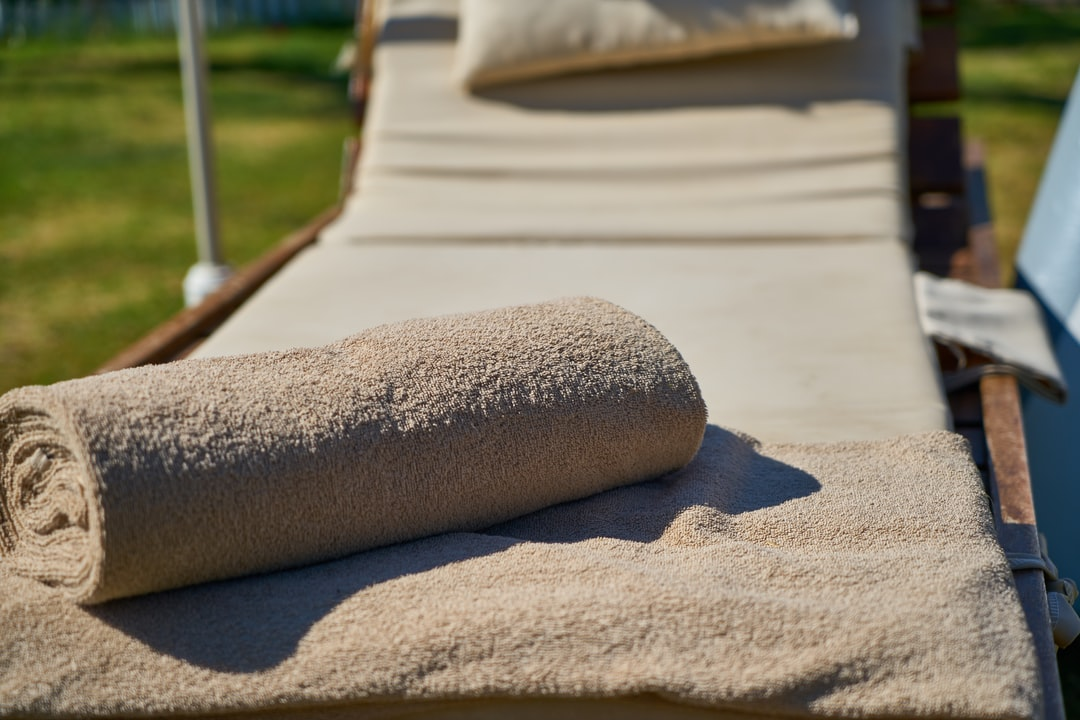 lounge chair and towels close up