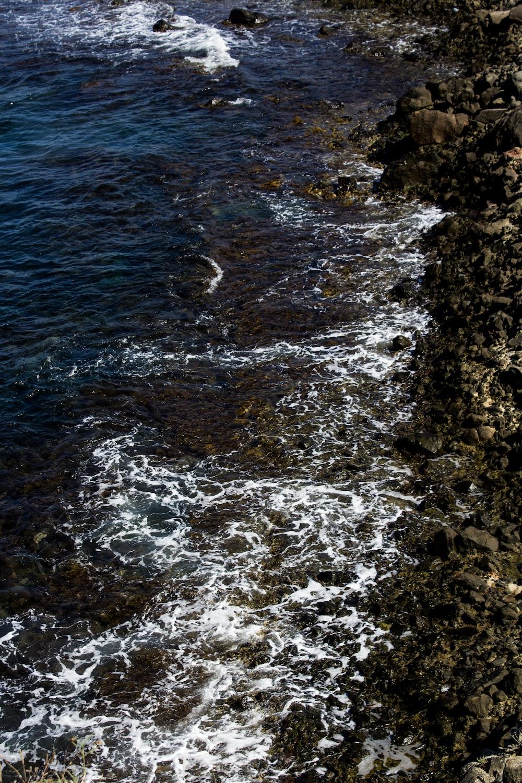 body of water near brown rocks during daytime