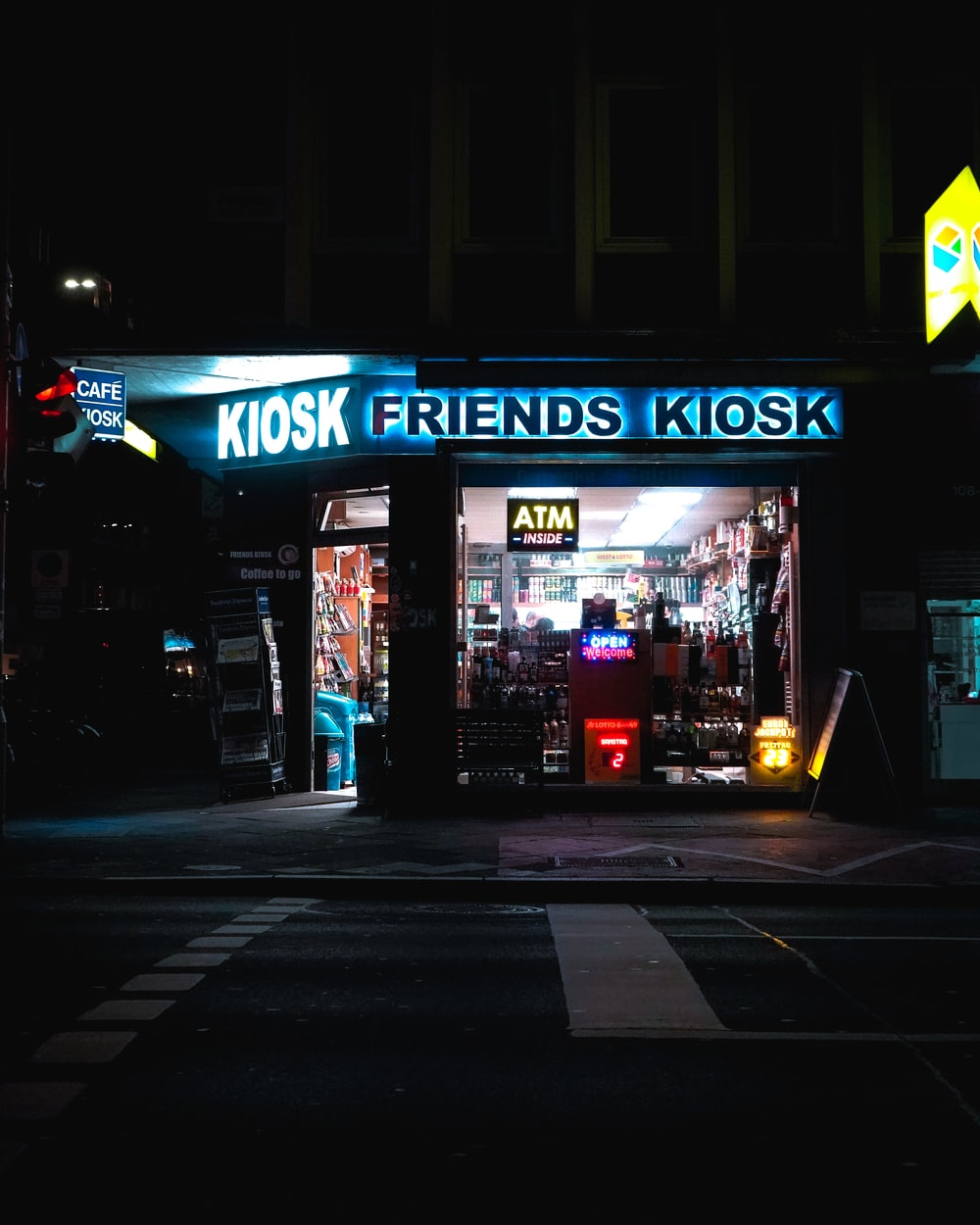 UNKs coffee shop during night time