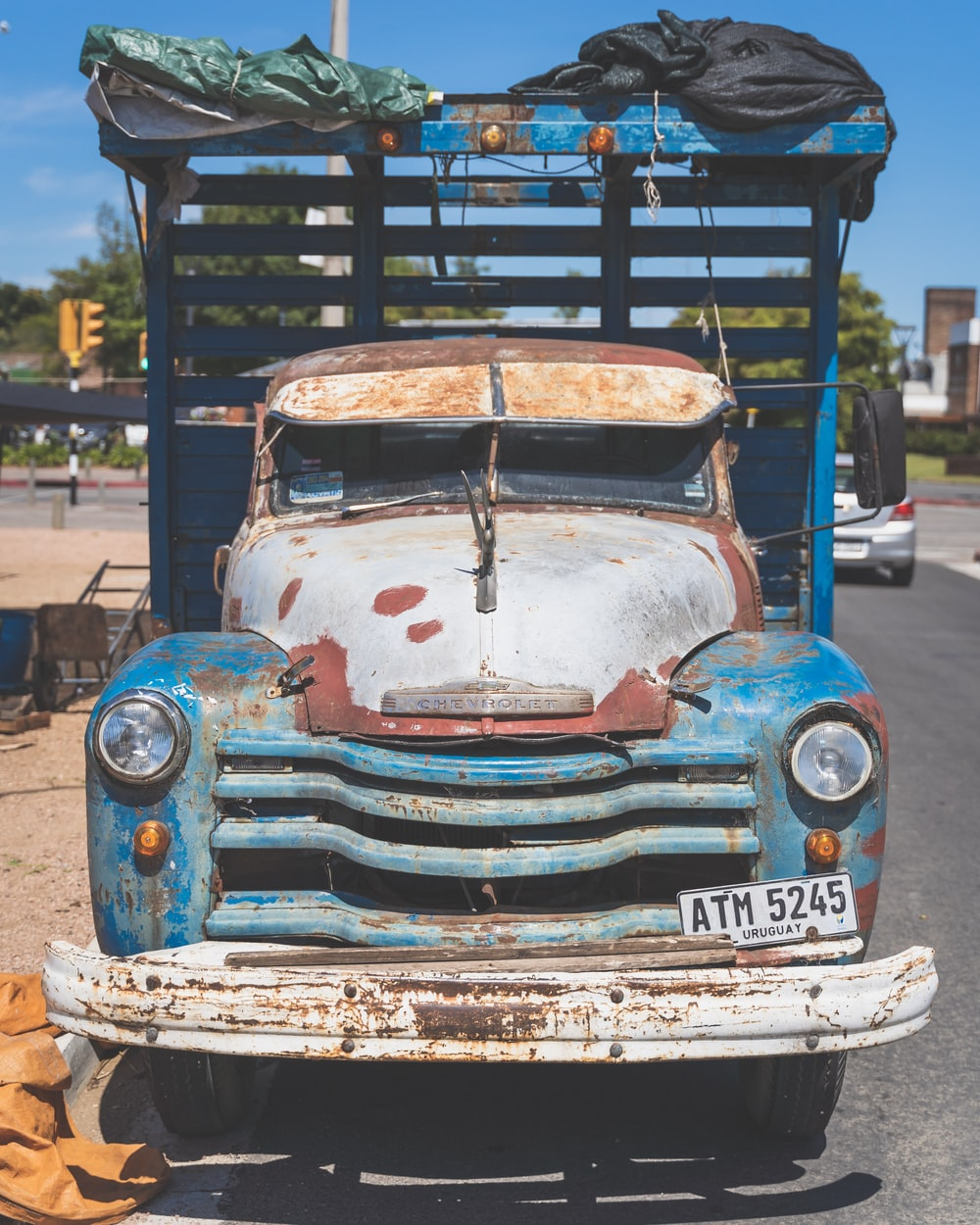 blue and white vintage car