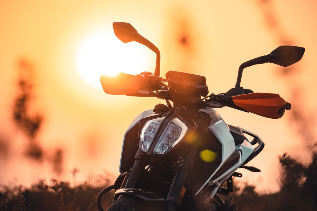 KTM Duke 390 Looking fantastic with sunset in the back ground.
