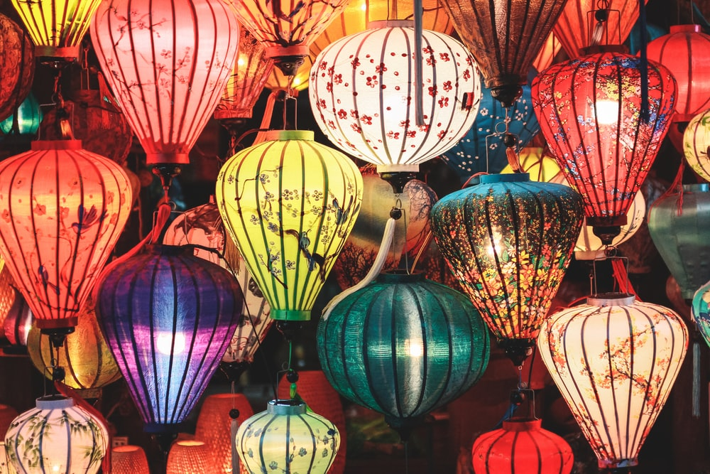 red green and yellow paper lanterns