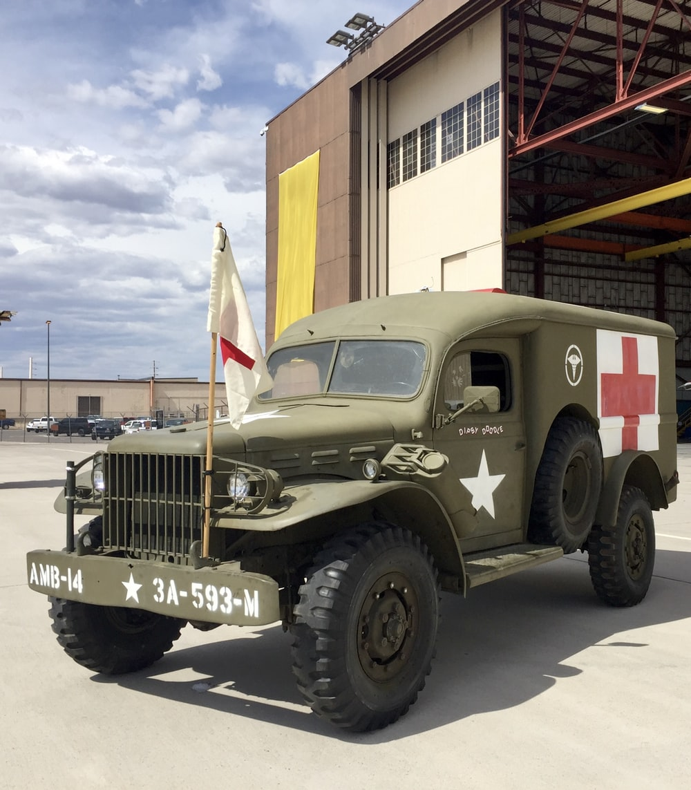 gray and red us army truck