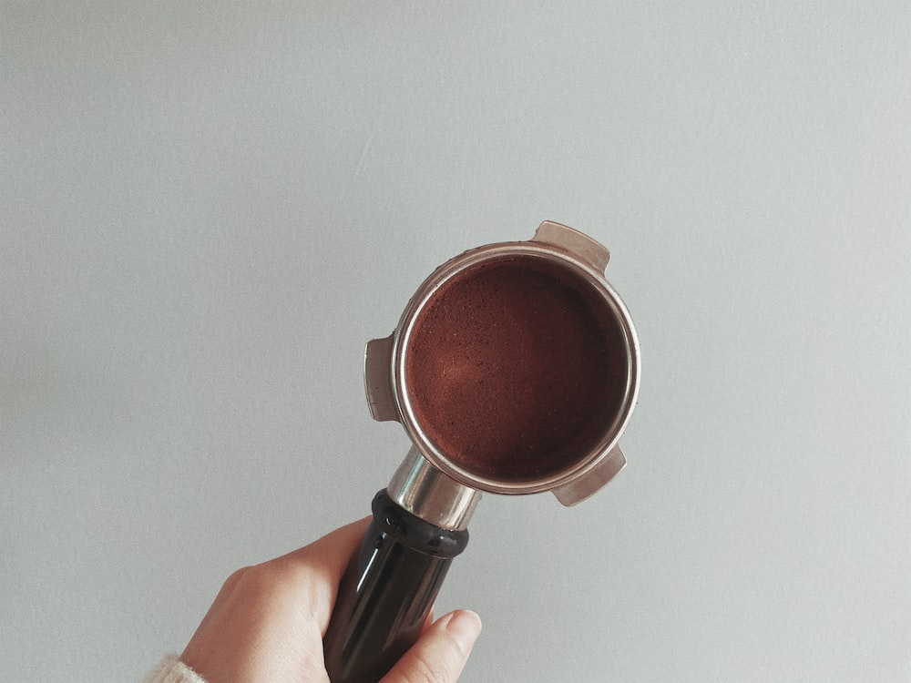 person holding silver and brown round device