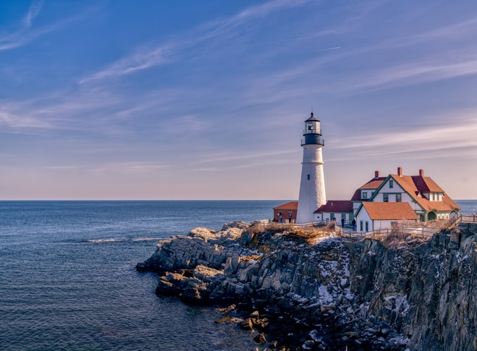 Image of Casco Bay Islands and New England lighthouses in Portland, Maine.