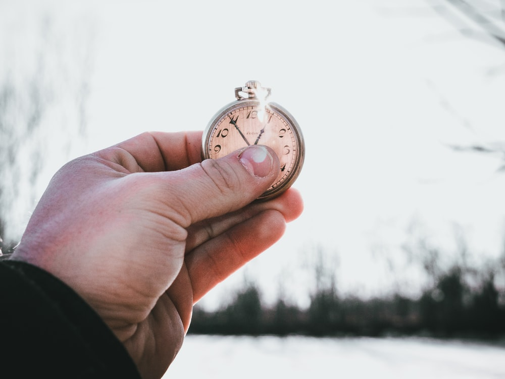 person holding silver pocket watch