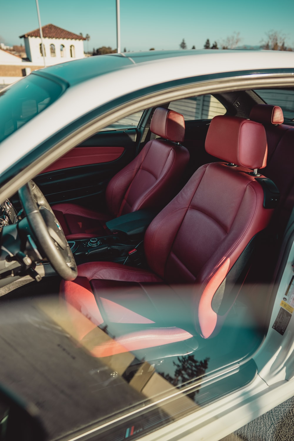 red and black car interior
