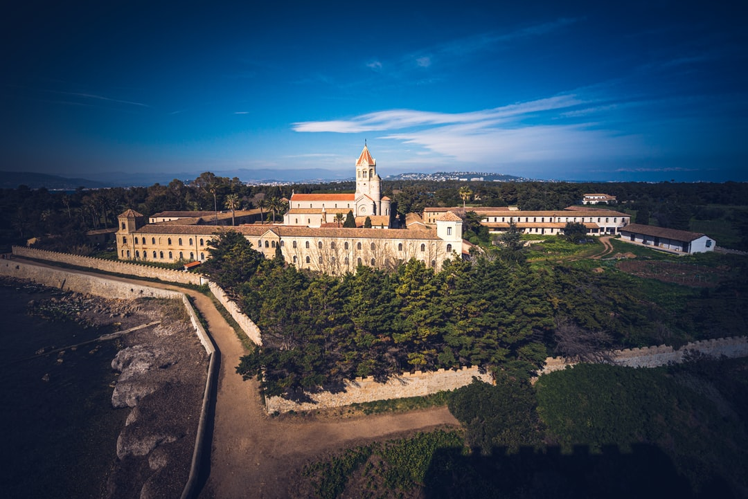 Great view of the Abbaye of Lérins on the Saint Honorat Island