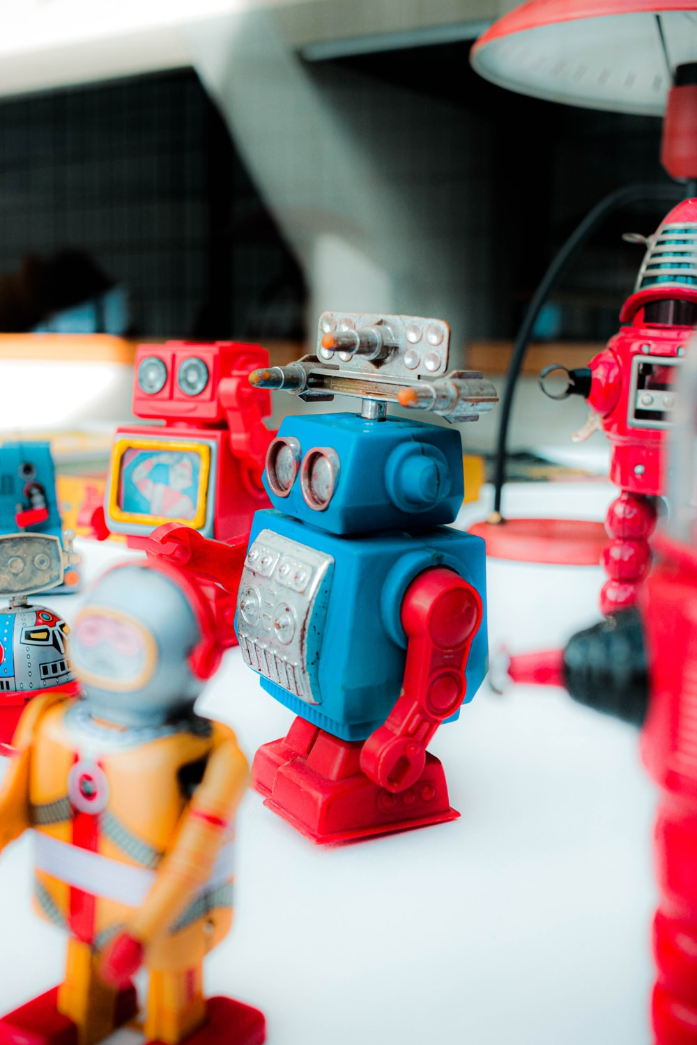 red and blue robot toy