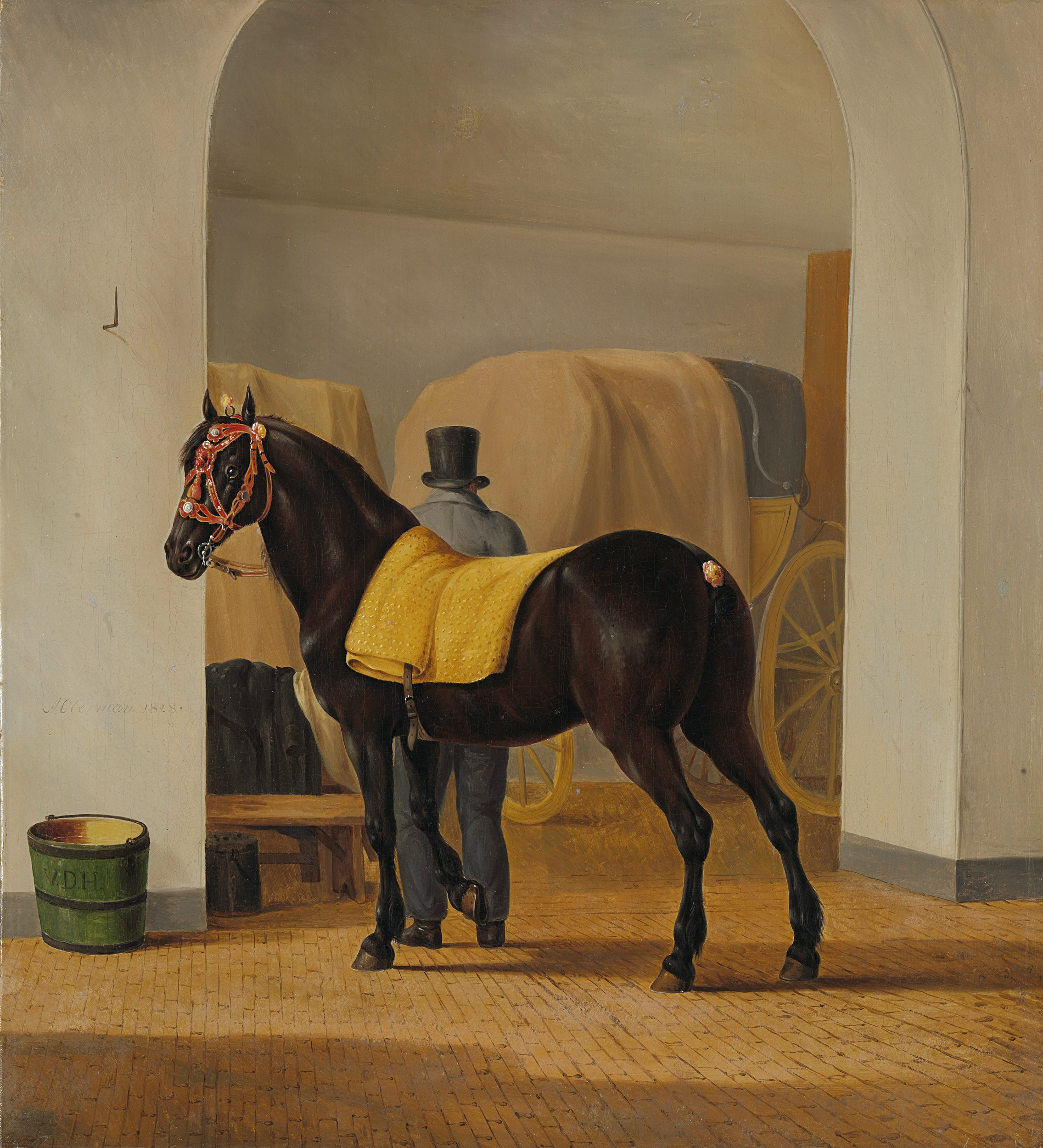 Title: Adriaan van der Hoop's Trotter 'De Rot' at the Coach House. Date: 1828. Institution: Rijksmuseum. Provider: Rijksmuseum. Providing Country: Netherlands. Public Domain