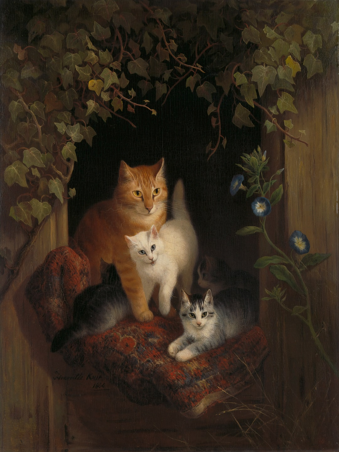 Title: Cat with Kittens. Date: 1844. Institution: Rijksmuseum. Provider: Rijksmuseum. Providing Country: Netherlands. Public Domain