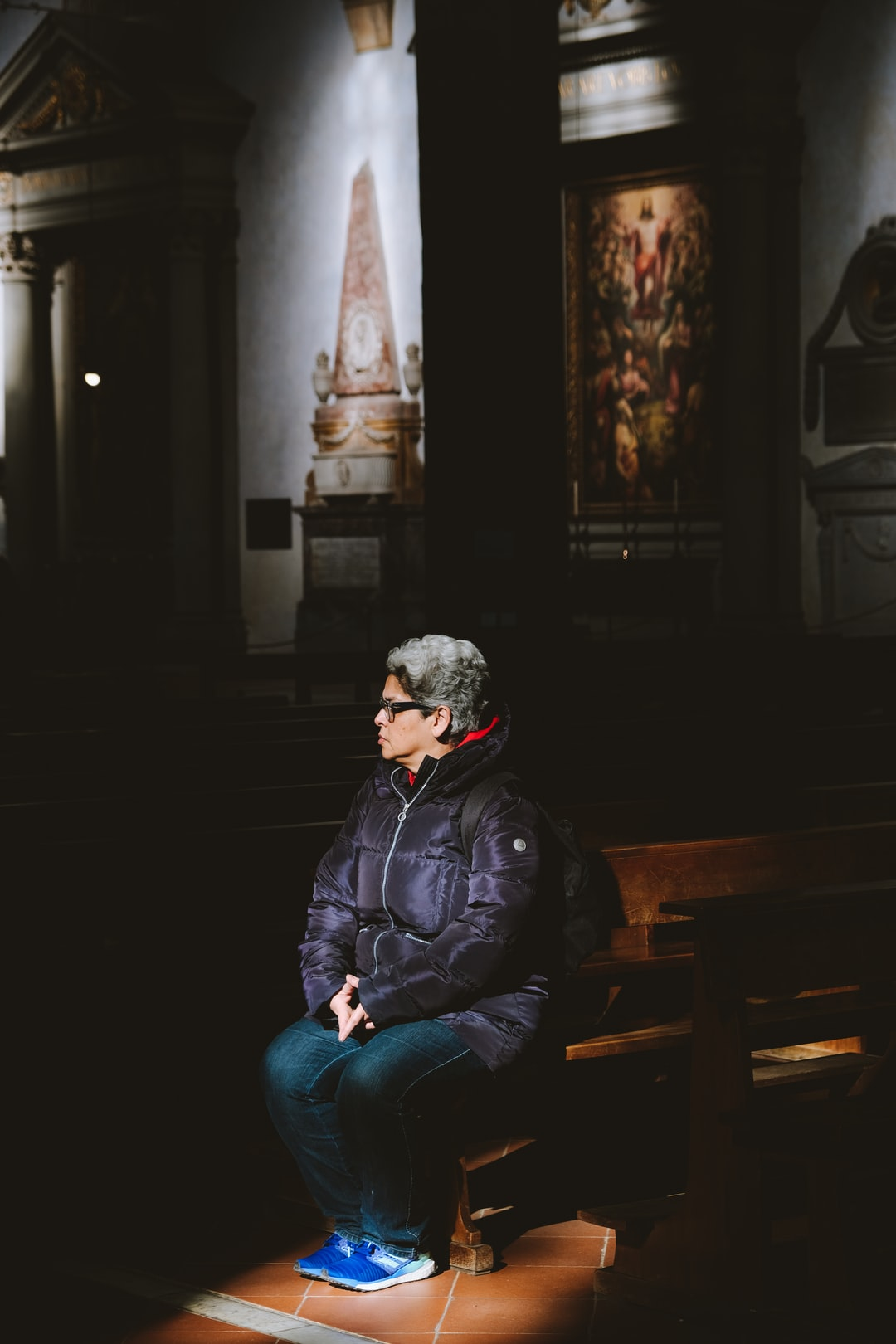 Meditating in a church.