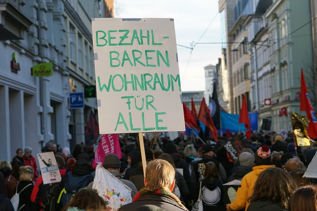 """""""Affordable housing for everyone"""" protest sign in Erfurt, Germany. 15.02.2020"""