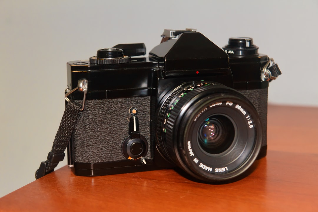 A classic film SLR without any branding.