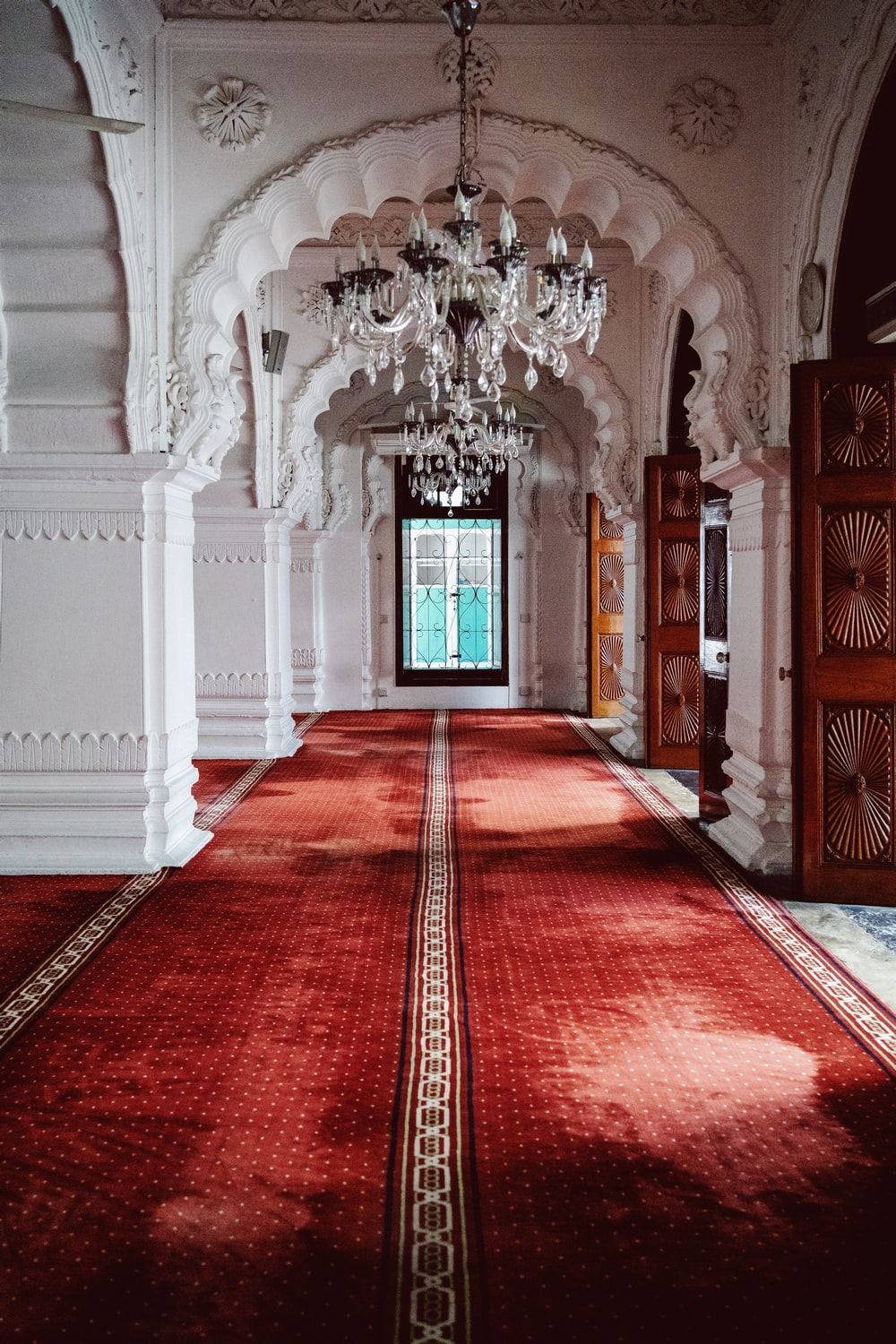 red and white carpet on hallway
