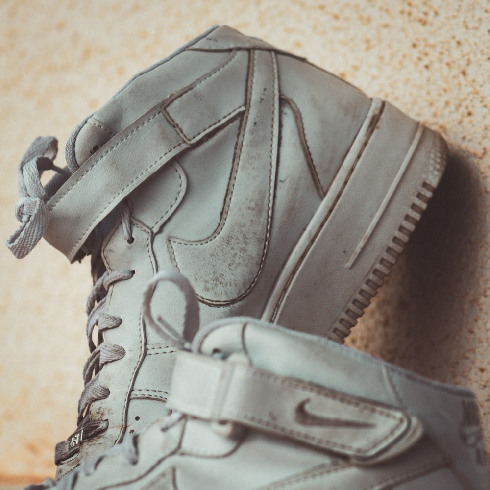 gray leather lace up shoe