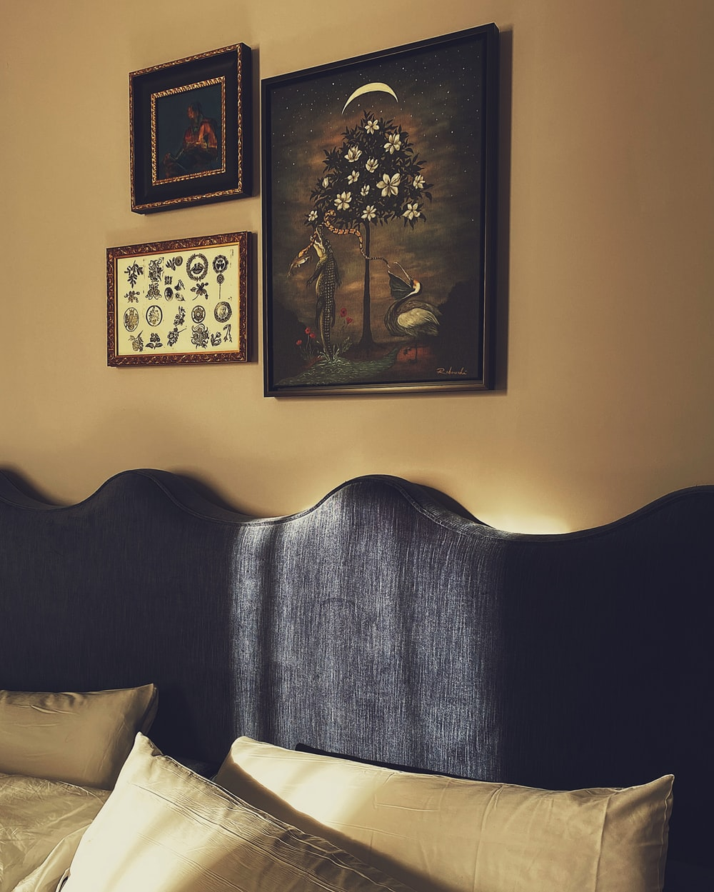 black wooden framed flower painting