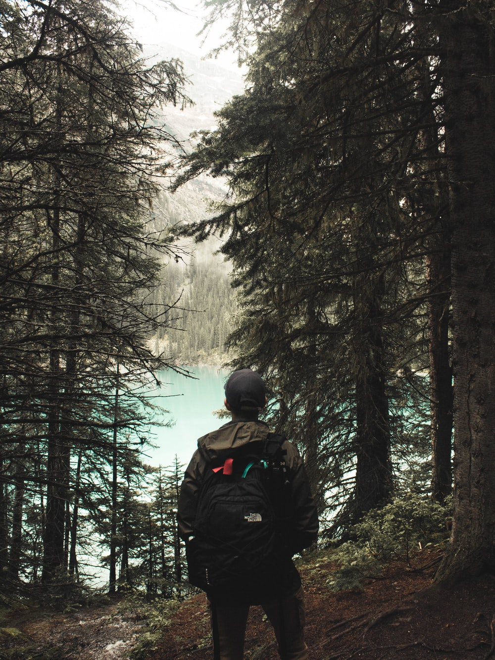 man in black jacket and black backpack standing in the middle of the forest during daytime