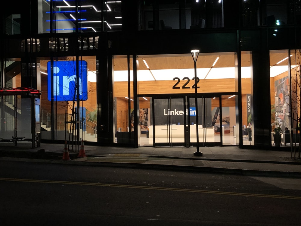 blue and white store signage