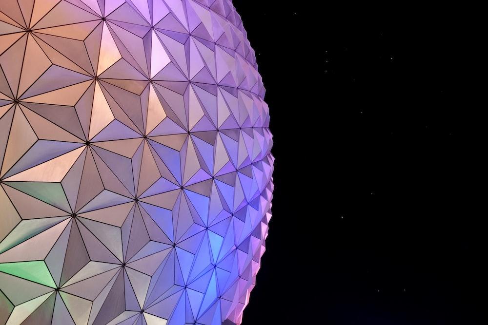 white and blue round ball