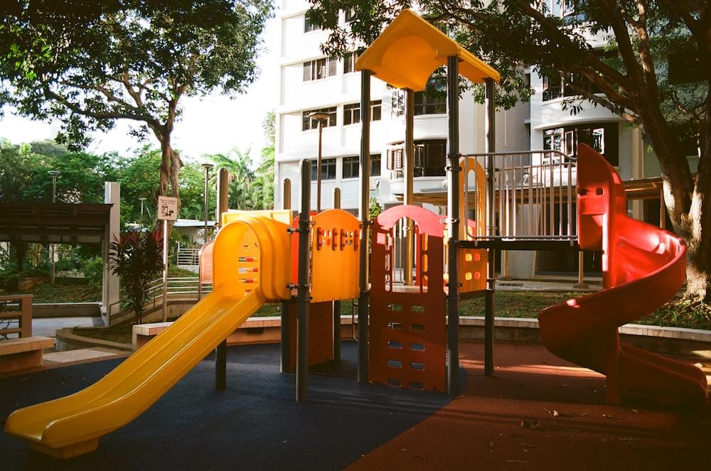 orange and black playground slide