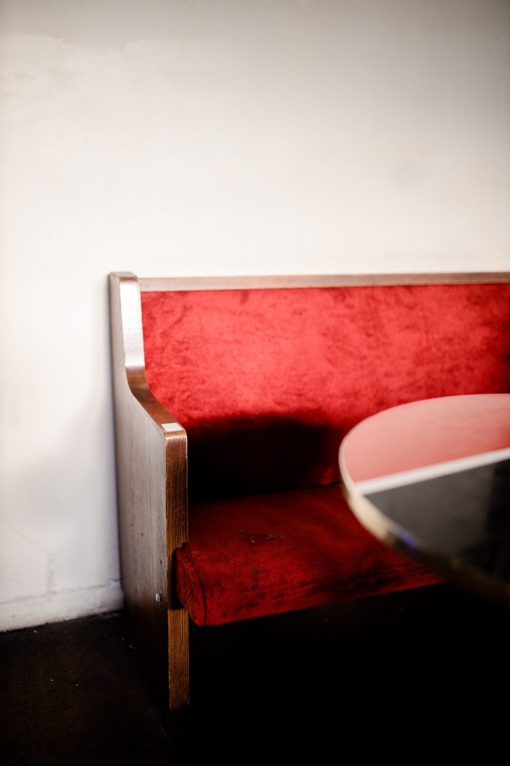 red and white wooden chair